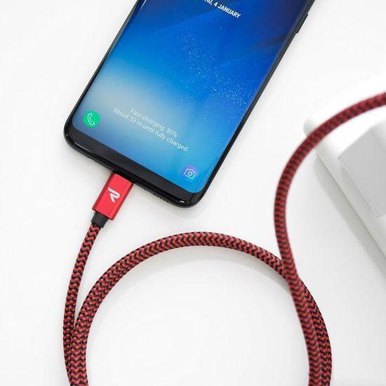 Charge//Synchro Ultime Rapide Rouge et Noir 1m//3.3ft Garantie /à Vie C/âble USB C Nylon Tress/é en Fibre Connecteur Ultra R/ésistant C/âble USB Type C /à USB 3.0 Rampow Nouvelle Version