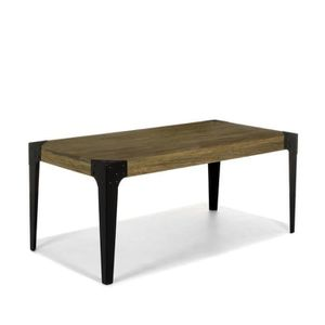 bark table rectangulaire en orme massif et m tal achat. Black Bedroom Furniture Sets. Home Design Ideas