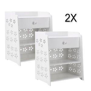 CHEVET Lot de 2 Chevet Table de nuit Moderne Blanc Fleur