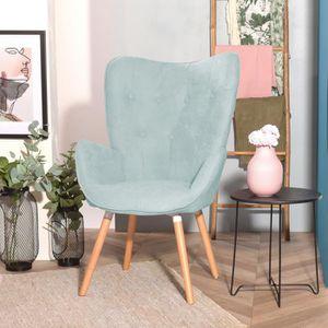 FAUTEUIL Fauteuil Chaise de Tissu Vert Accoudoir Touffue, P