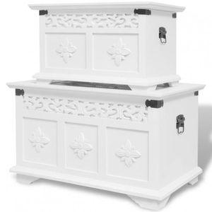 COFFRE - MALLE Lot de 2 coffres de rangement en bois blanc - DM24