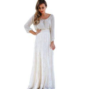 JUPE Femmes dentelle double couche plissée longue jupe