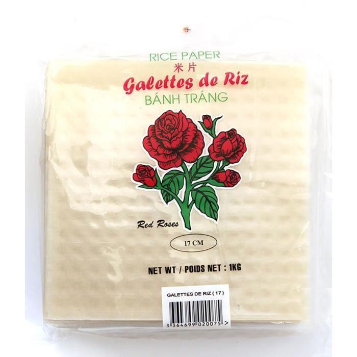 Galettes, Feuilles de riz carré 17 cm 1kg Red Roses
