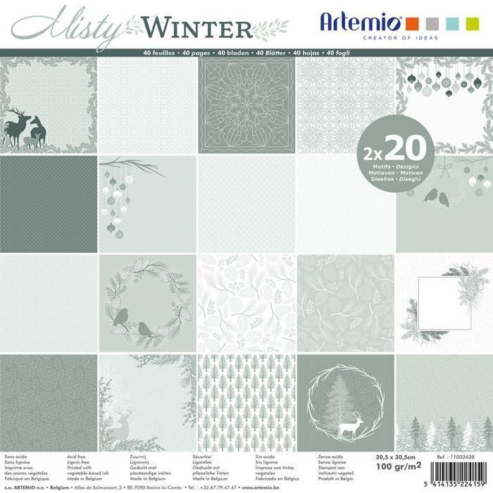 Bloc de 40 feuilles de papier scrapbooking 30x30 cm 'Misty winter' d'Artemio