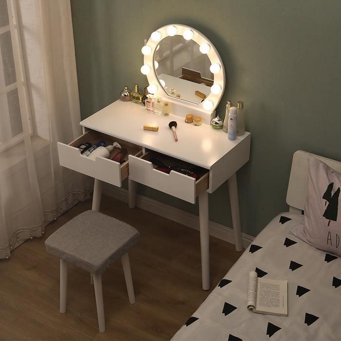 Table de maquillage+Tabouret Avec LED Coiffeuse en MDF et Bois massif Meuble pour chambre appartement Cadeau pour filles/Femmes BLA