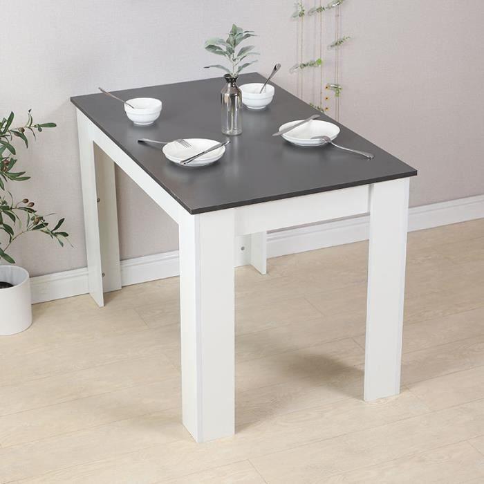HUGUANGh®Table à manger Rectangulaire contemporain en bois massif blanche décor béton