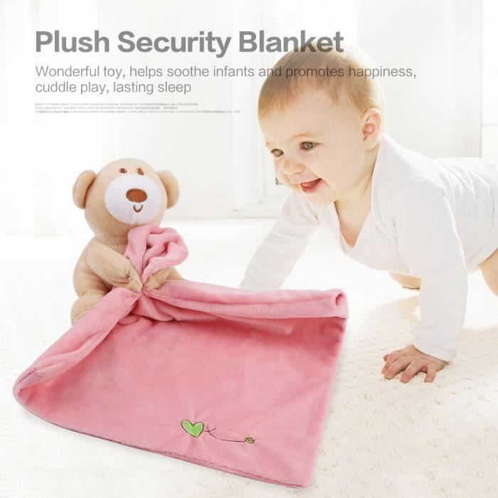Couverture bébé Belle ours de sécurité Consolateur Couverture apaisante(Rose)