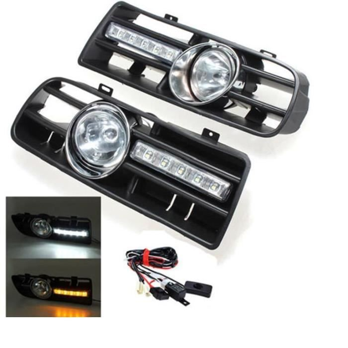 2 x LED Phares Antibrouillard Projecteur Grille pare-chocs voiture pr 97-06 VW GOLF 4 MK4 IV