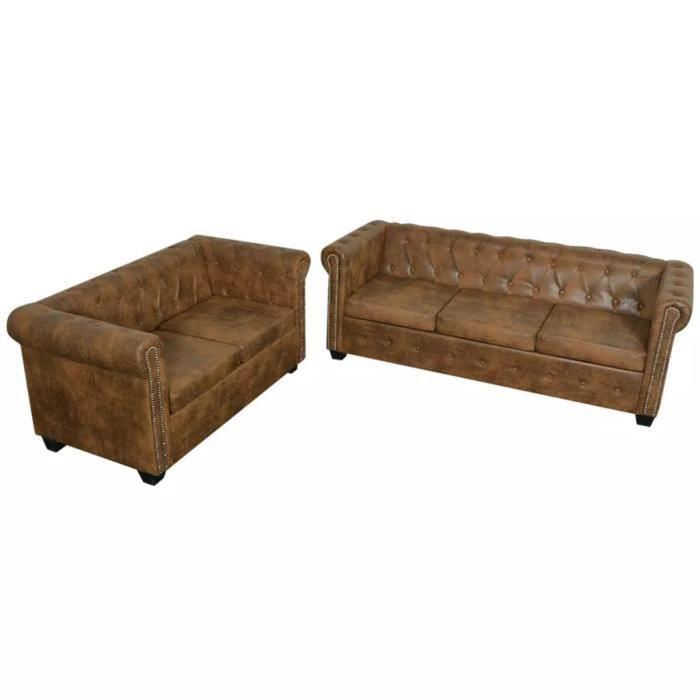 3028RAVI Luxueux Ensemble de canapé Chesterfield à 2 et 3 places Canapé de relaxation DE Haute qualité Sofa DE salon ScandinaveMarr