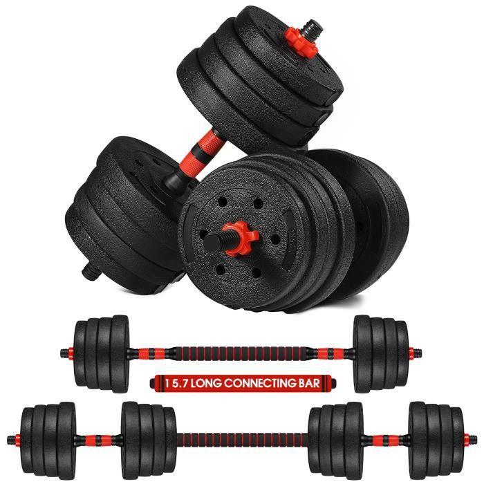 Kit Haltères 20 Kg - Réglables Musculation (Noir) N - Haltère domestique Poids Ajustable