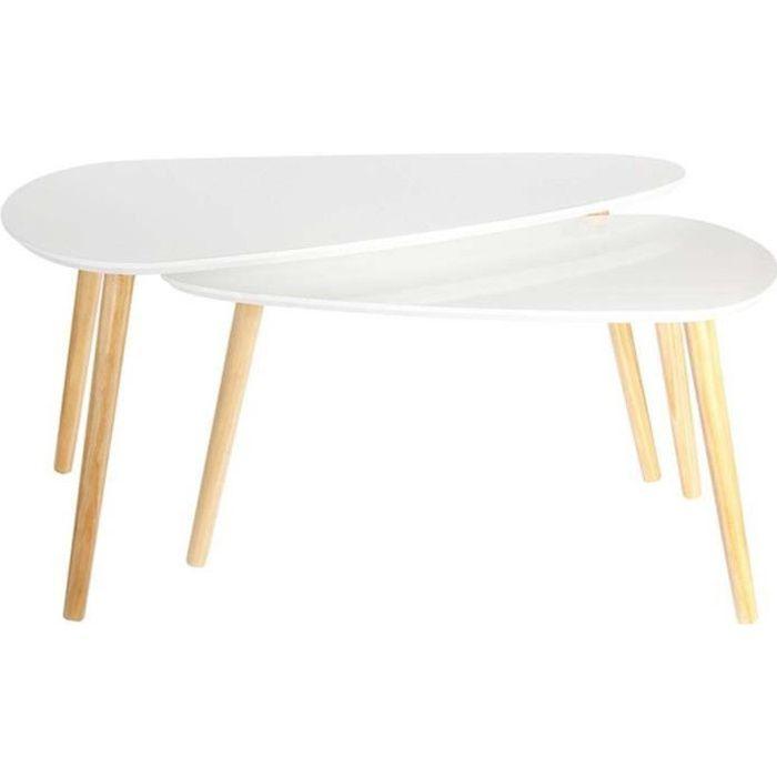 Tables gigognes en bois galet (Lot de 2) Blanc