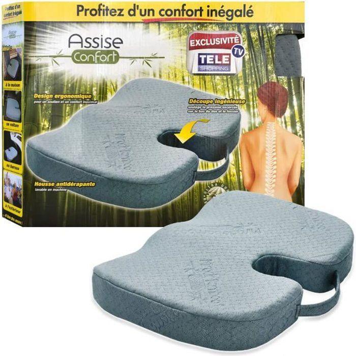 Assise Confort – Coussin Ergonomique 45x36 cm avec Découpe Ingénieuse, Mousse Haute Densité, Housse en Viscose de Bambou