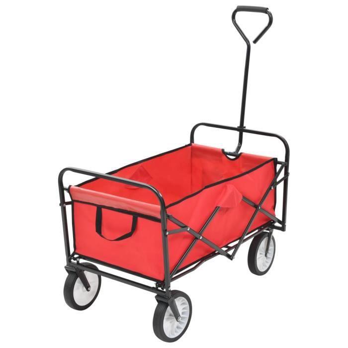Chariot à main pliable - Chariot de transport pliable Charrette pour jardin - Acier Rouge