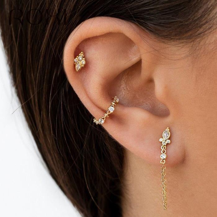 ROXI 925 argent Sterling Animal chien chat patte boucles d'oreilles pour les femmes Piercing oreille bijo - Modèle: Or  - TEEHB03029