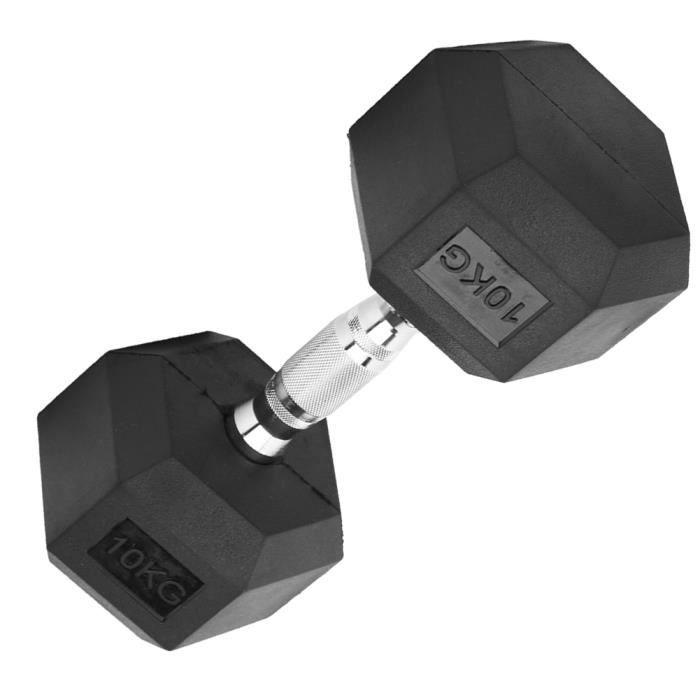 Haltère hexagonale 10KG simple haltère hexagonal encastré à la maison Gymnase d'entraînement Fitness main haltère de fer
