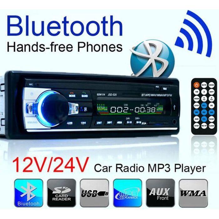 Autoradio multimédia Bluetooth, lecteur Audio stéréo, Support DVD CD MP3 WMA WAV, récepteur Aux