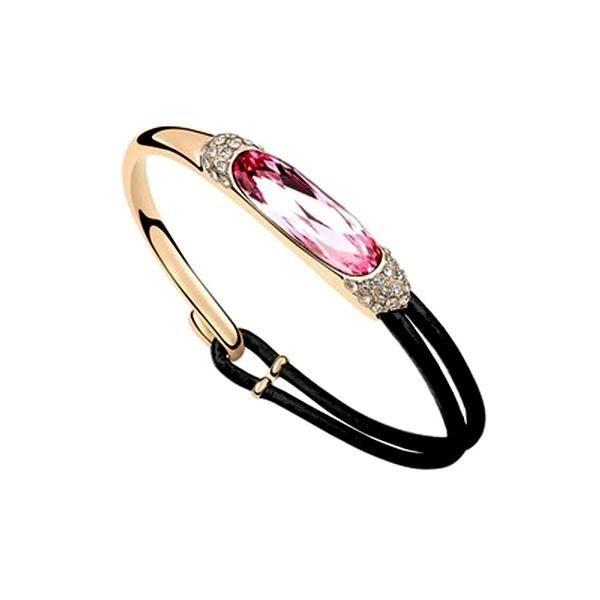 Bracelet Cuir et Cristal de Swarovski Elements Rose