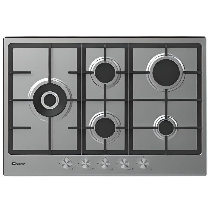 Candy CHG7WLWPX Plan de cuisson à gaz 75 cm 5 feux Inox