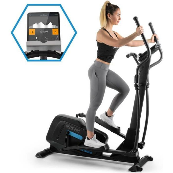 CAPITAL SPORTS Helix Track Vélo elliptique avec volant d'inertie 20kg et résistance magnétique 32 niveaux - interface Bluetooth
