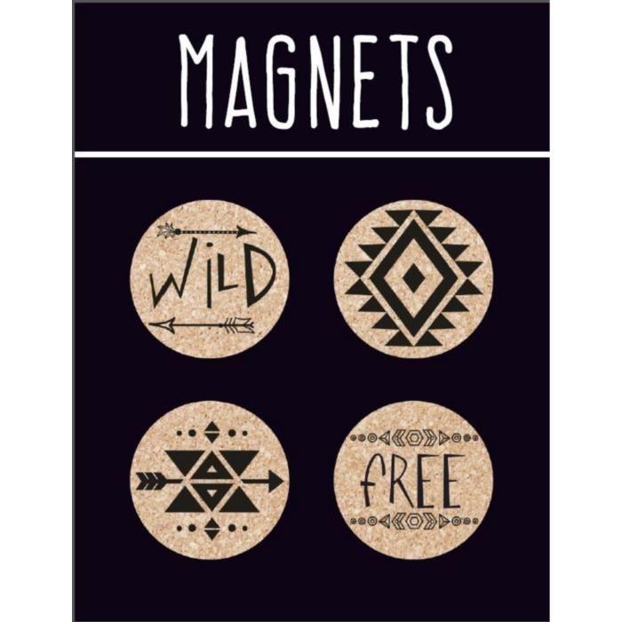 EMOTION Lot de 4 magnets en liège