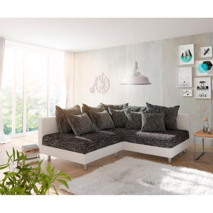 Canapé-angle Clovis blanc noir ottoman droite canapé d'angle canapé modulaire