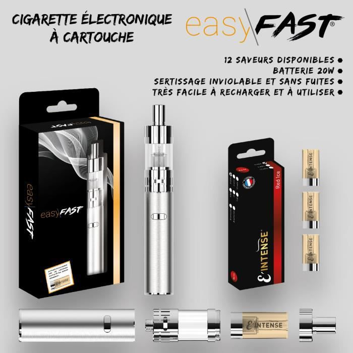 Cigarette electronique Easy Fast ® + 3 cartouches saveur RED ICE 00mg