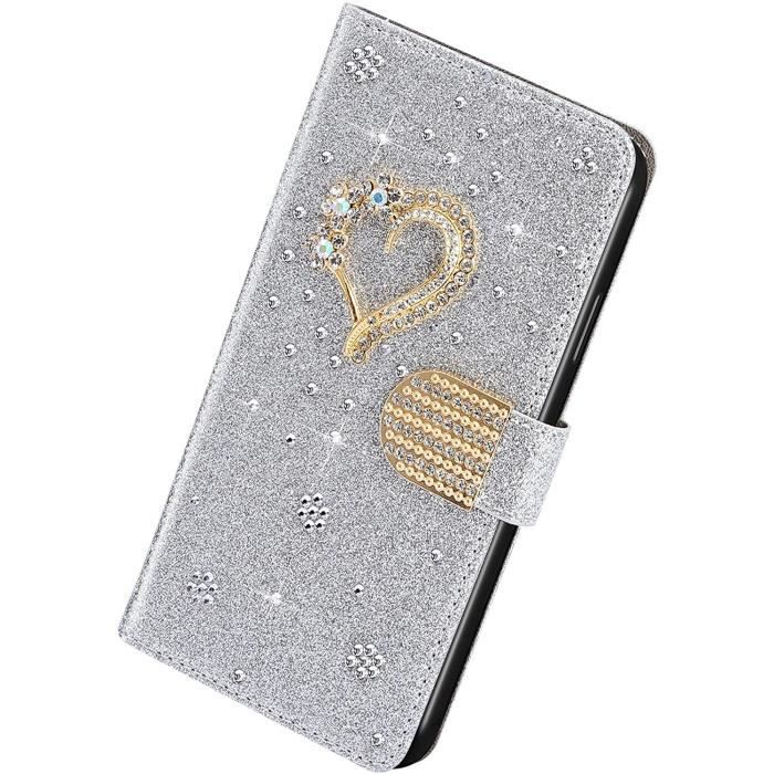 Étui Compatible avec Samsung Galaxy A41 - Étui en Faux Cuir avec Flip Cover Glitter Bling Strass Love Heart PU Cuir Mobile Pho AO
