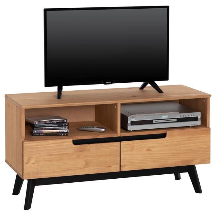 Meuble TV TIBOR banc télé 109 cm style scandinave design vintage nordique 2 tiroirs 2 niches en pin massif finition bois teinté