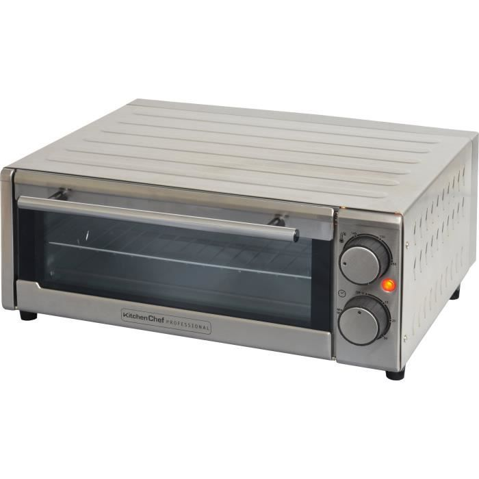 KITCHEN CHEF GP-15AL-G - Four à pizza - 1300 W - Inox - Diamètre 30 cm - 2 résistances