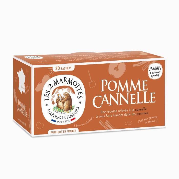 Les 2 Marmottes - Infusion Pomme Cannelle 30 sachets - Gourmande et fruitée - Made In France - Sans arômes ajoutés