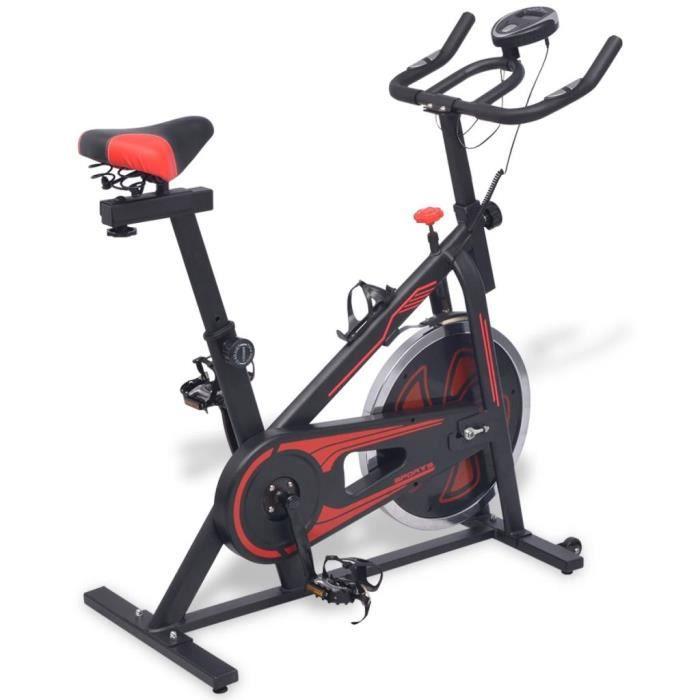 Meelady Vélo d'appartement Avec courroie de transmission en caoutchouc Poids maximal de l'utilisateur 100 Kg Noir et rou_Camsoos