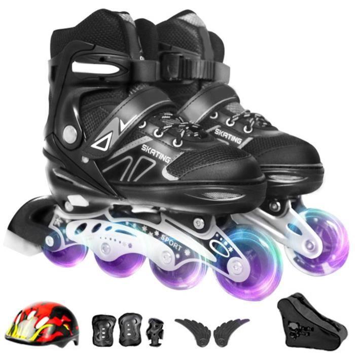 Roller in line Patins à roulette alignées clignotant ajustable Respirant avec Équipement protecteur,sac de rangement-Noir