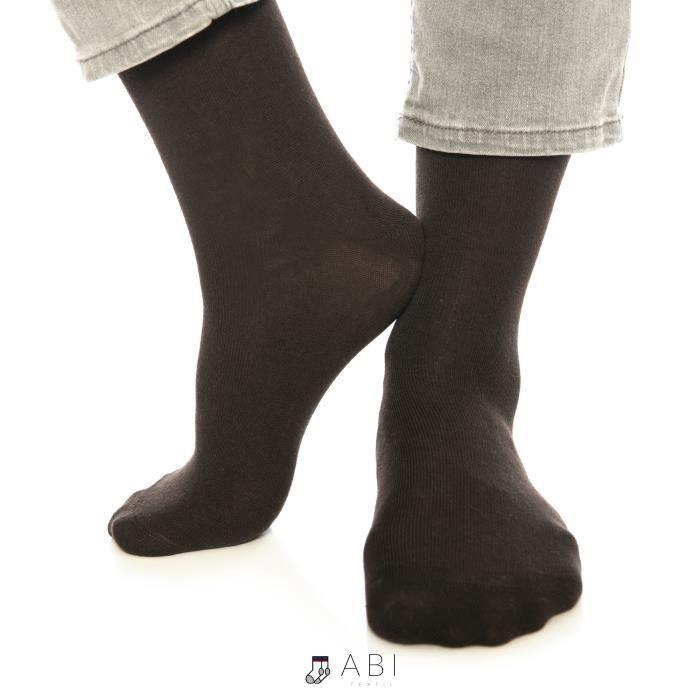 ABI - Chaussettes classiques Marron Homme Femme Coton (10 Paires) Coton