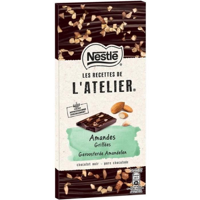 Nestlé Les Recettes de l'Atelier Amandes Grillées Chocolat Noir 115g (lot de 8)