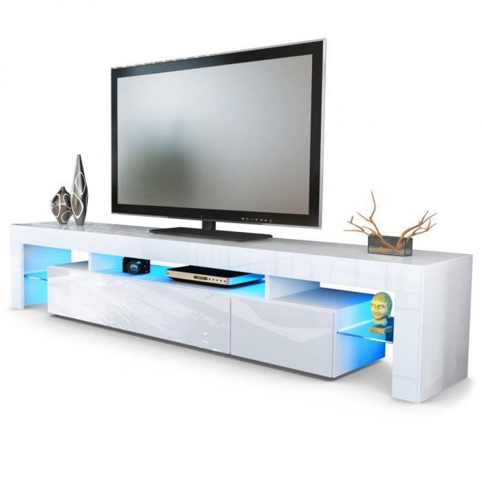 Meuble tv blanc 189 cm avec led