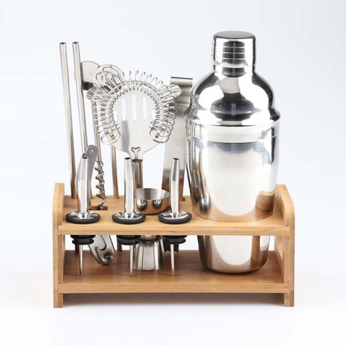 12 pièces Bar à Cocktail Shaker en acier inoxydable Kit avec support en bois 550 ml