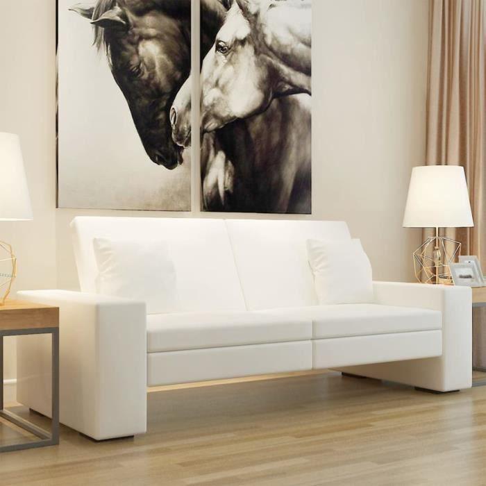 4290Good- Canapé-lit d'angle réversible convertible Sofa de salon Retro Design,• Canapé-lit Moderne Cuir artificiel Blanc