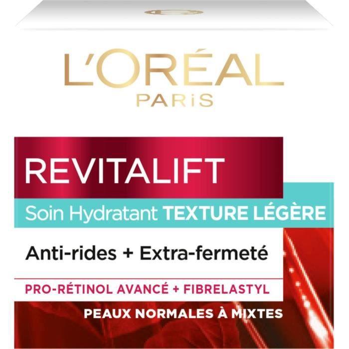 L'ORÉAL Paris Revitalift Soin Hydratant Crème de Jour Anti Ride Fermeté Texture Légère - 50ml