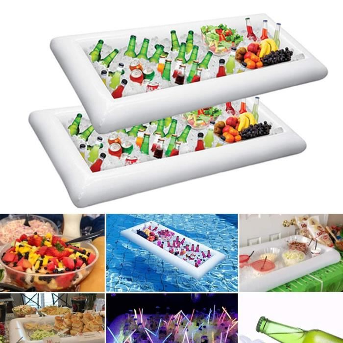 Glace Gonflable Buffet Plateaux De Service Plateau Porte-boissons Refroidisseur BBQ Pique-Nique Piscine Fête Fournitures - 2PCS