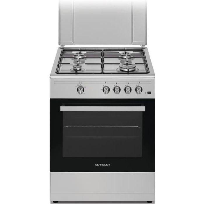 SCHNEIDER SCCFG65X - Cuisinière gaz - 4 foyers -2,9 - Four gaz - Nettoyage Email Lisse - 55L - L60cmxH86cm - Noir