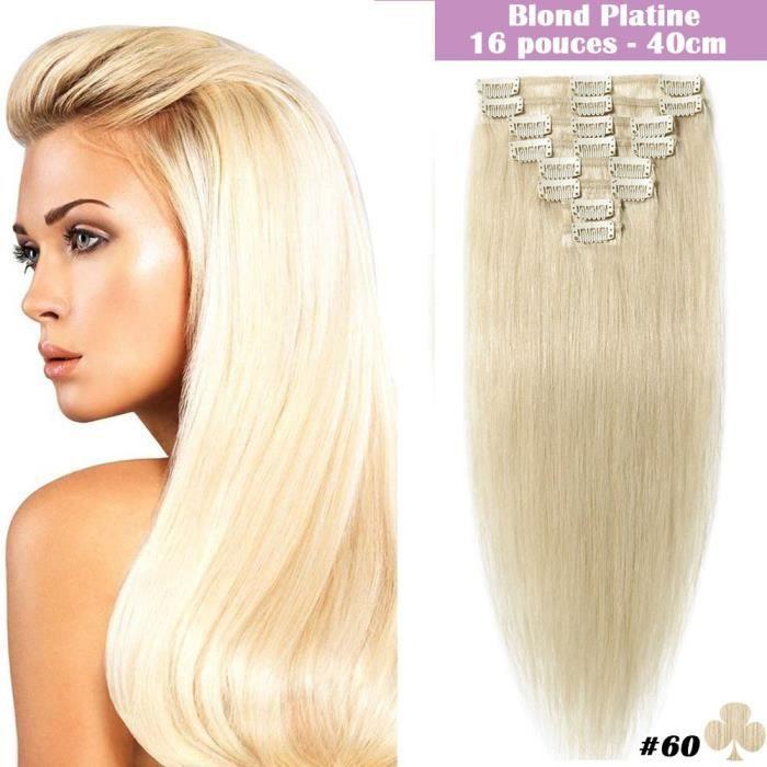 Extensions de Cheveux Naturels a Clips 8 Bandes 18 clips Raide - #60 Blond platine - 40CM 65G - 100% Remy Human Hair