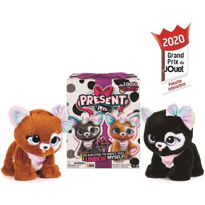 PRESENT PETS Surprise Rainbow Glitter Pups - 6059159 - Peluche chien interactif et sonore - Unboxing - Modèle aléatoire
