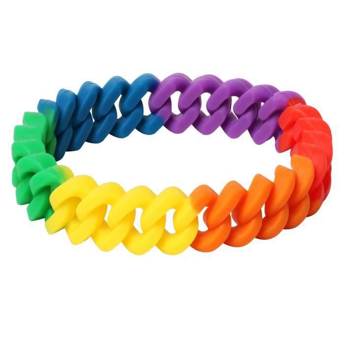 Bracelet Arc-en-ciel en Silicone Tressé pour Célébrations Nationales de la Gay Pride TRIXES