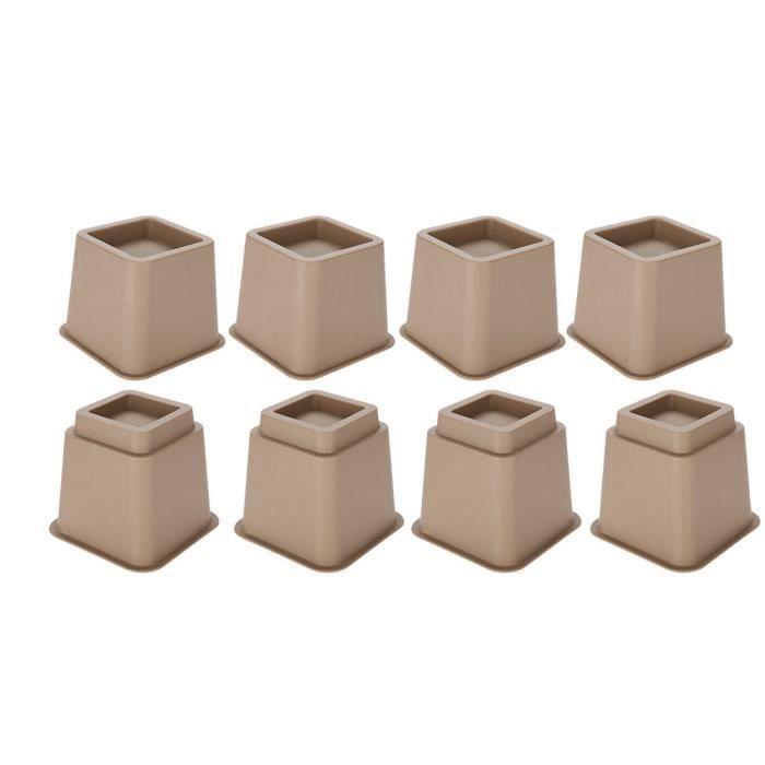 PAL - Rehausseur Pieds de lit, Élévateur de lit, Pied de Meuble Reglable 4 x 5 'et 4 x 3' marron