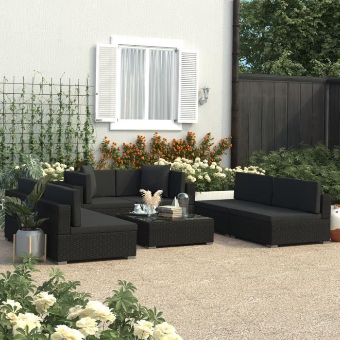 vidaXL Salon de jardin 7 pcs avec coussins Noir Résine tressée