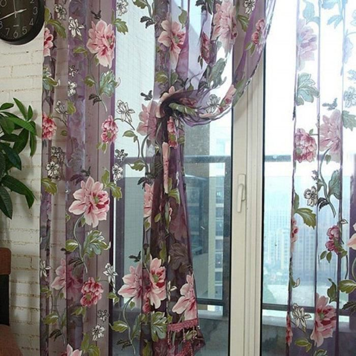 1#^AOLVO Fleur Rideau Transparent Tulle Rideaux Semi Voilage Vitrage fenêtre dépistage Soins Salon Enfants Chambre à Cou