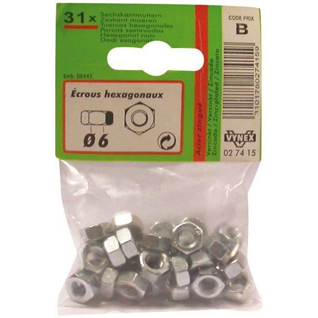 Ecrou hexagonal - acier zingué - 6 pans - D: 6 mm