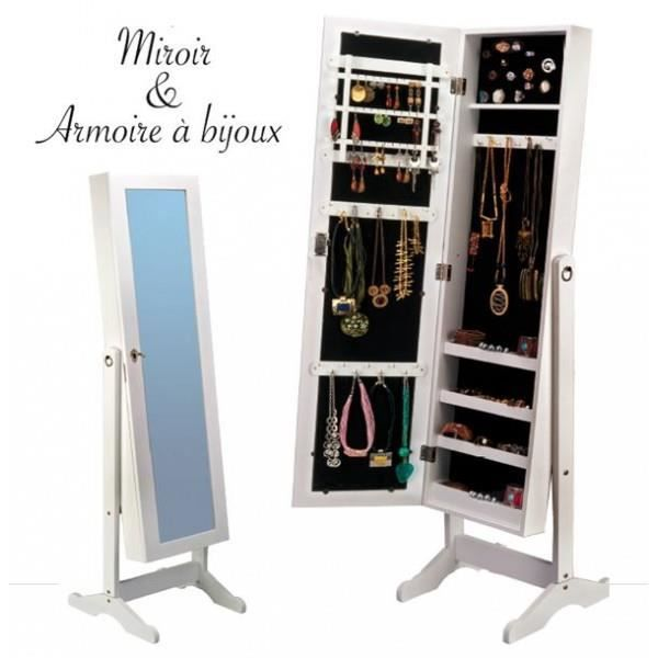 armoire range bijoux blanche avec miroir integree achat. Black Bedroom Furniture Sets. Home Design Ideas