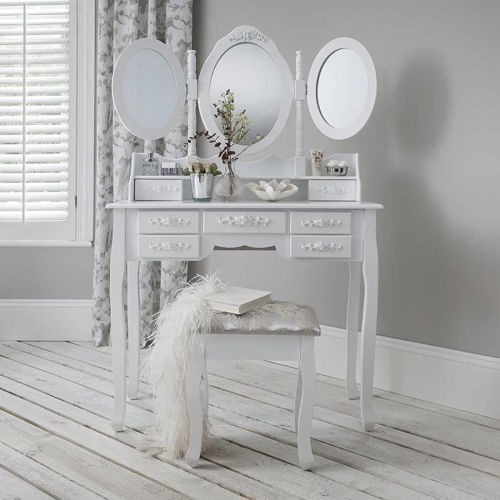 Generic Wood Whiteer Font Commode Miroir de maquillage Coiffeuse Tabouret tiroirs Meuble de tabouret de coiffeuse Bois Blanc