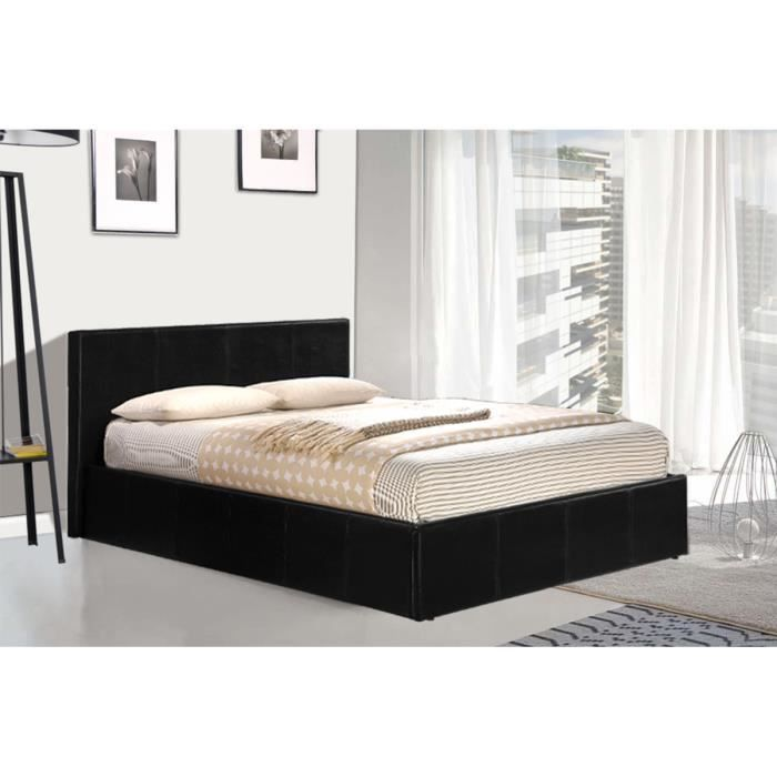 lit coffre 140x190 pvc noir avec sommier mark le lit. Black Bedroom Furniture Sets. Home Design Ideas